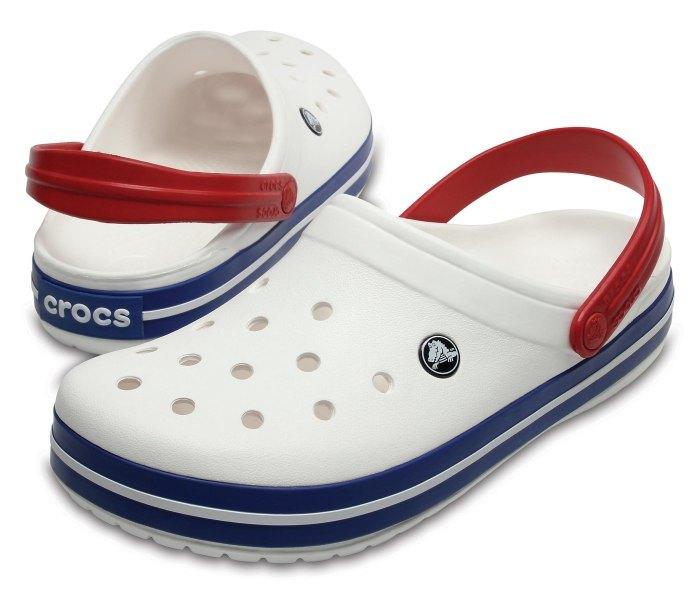 Klompa Crocs crocband bijela sa plavim rubom