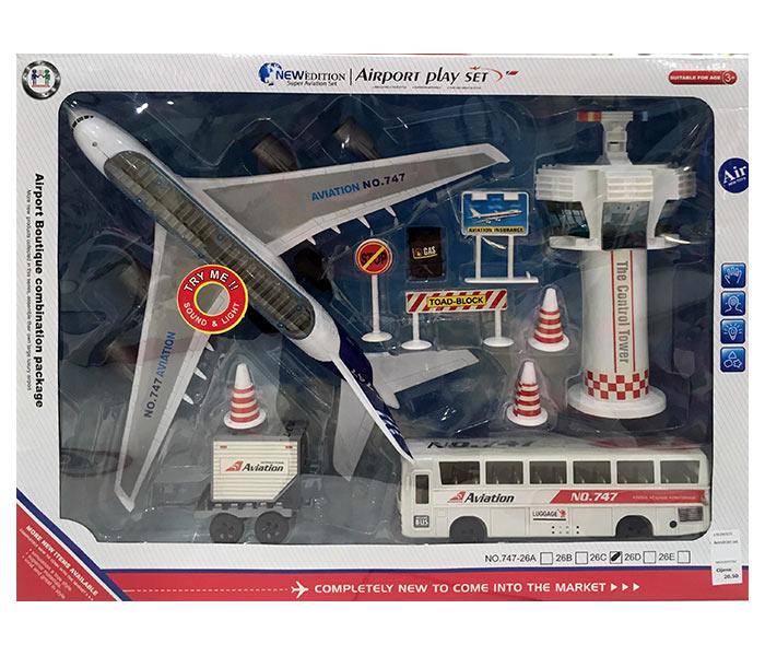 Igracka aerodrom set sa avionom, kontrolnim tornjem I kamionom