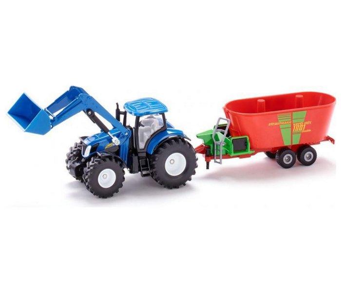 Igračka traktor sa prednjim utovarivačem i mikserom za stočnu hranu