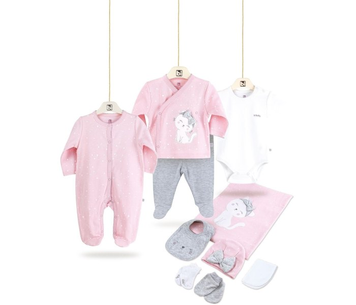 Set za novorodence BiBaby 10 djelova slatka macka pink