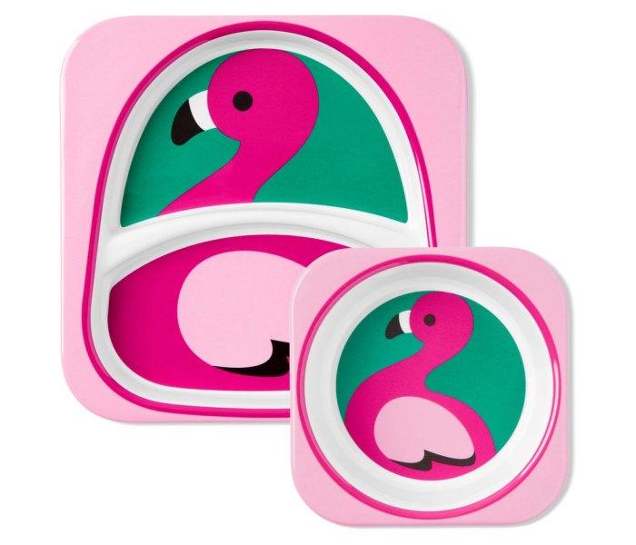 Komplet - dvodjelni tanjir i cinija Skip hop flamingo