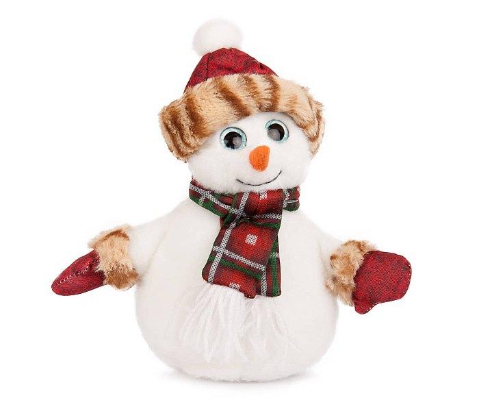 Plišana igračka Amek sneško sa crvenim šeširom i šalom 23 cm