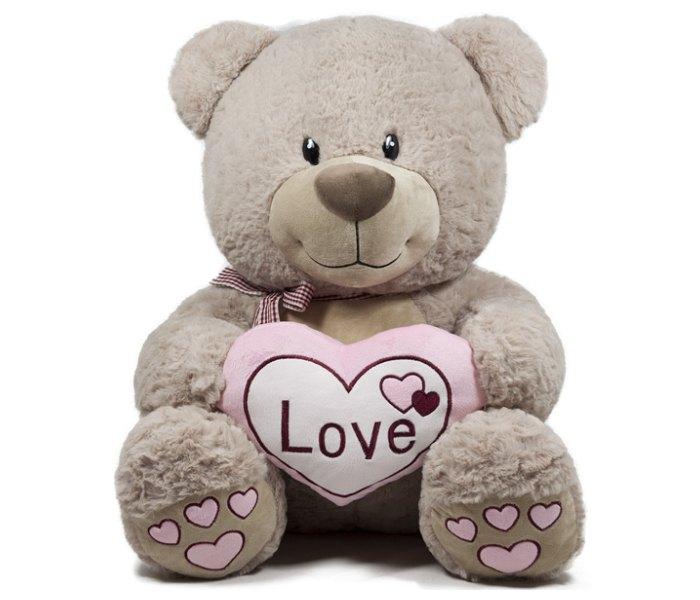 Plišana igračka Amek medvjed sa pink mašnom i srcem 50 cm
