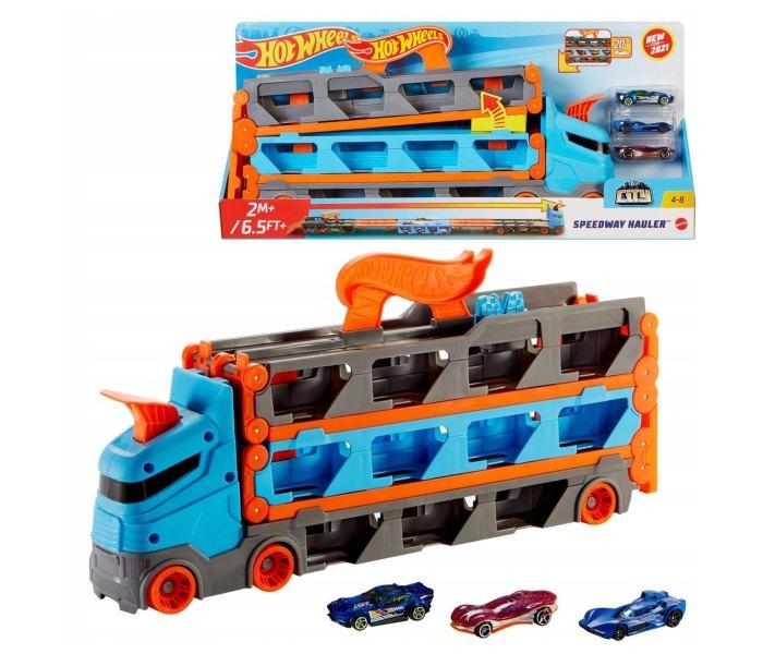Igračka Hot wheels mega transporter sa stazom