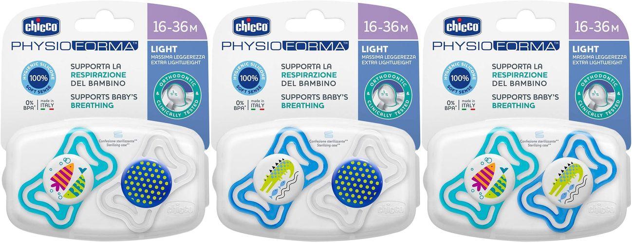 Varalica physio light silikon 2/1 16-36m+ 0%bpa-plava