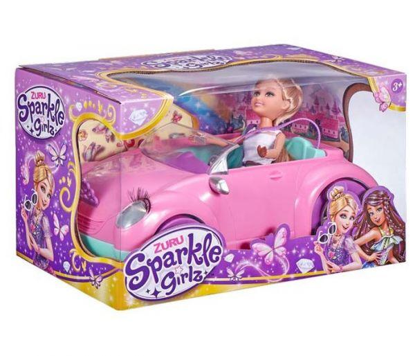 Igračka Sparkle girlz pink automobil i lutka set