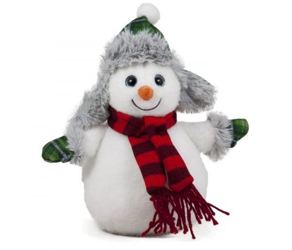 Plišana igračka Amek sneško sa zelenim šeširom i šalom 22 cm