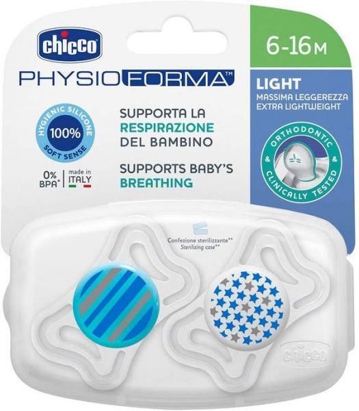Varalica physio light silikon 2/1 6-16m+ 0%bpa-plava